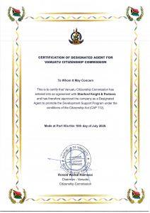 Official Vanuatu Citizen Agent Certificate